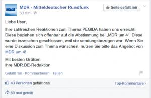 Screenshot MDR Facebookseite